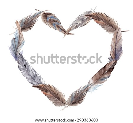 Watercolor vector feather heart isolated