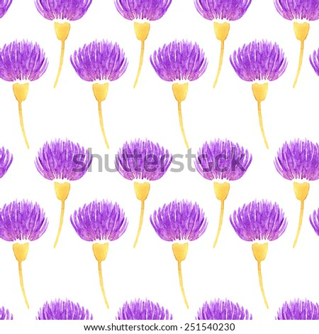 Watercolor vector floral seamless pattern with decorative violet thistle flowers. Spring background - stock vector