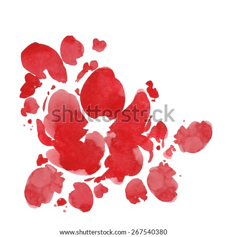 Watercolor Vector Flower. Red flowers. Watercolor red flower. Greeting card with flowers, can be used as invitation card for wedding, birthday and other holiday and summer background.