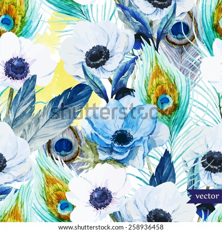 watercolor, vector, flowers, anemones, lilac, boho,pattern, wallpaper - stock vector