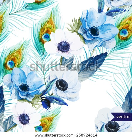 Watercolor Vector Flowers Pattern Anemone Feathers Boho Wallpaper