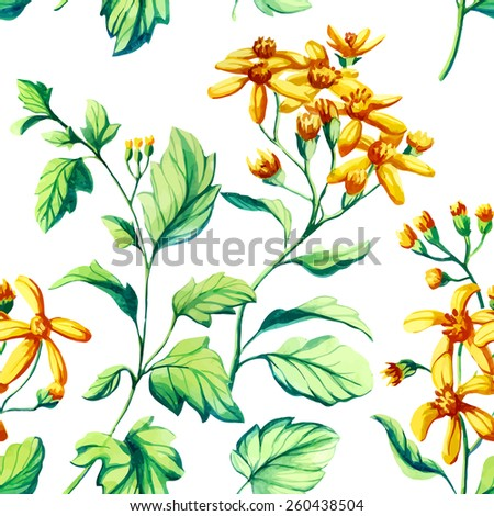 Watercolor vector flowers seamless pattern. - stock vector