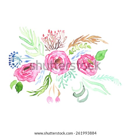 Watercolor Vector Flowers. Vector Watercolour Flowers. - stock vector