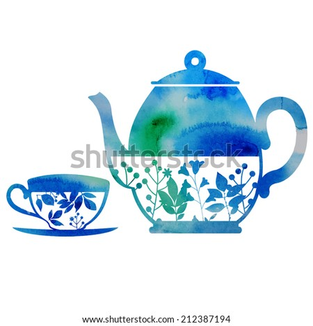 watercolor vector grunge kettle and cup in blue - stock vector