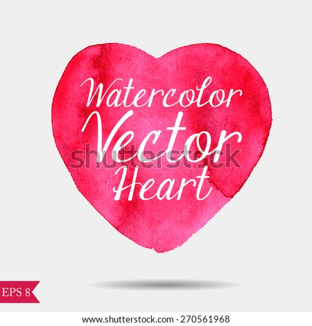 Watercolor vector heart - stock vector