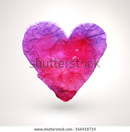 Watercolor vector heart for vintage design. Paper texture element. Happy Valentines Day Illustration. - stock vector
