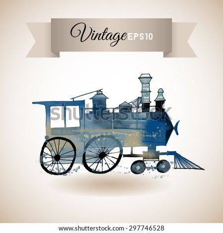 Watercolor vector illustration of vintage locomotive - stock vector