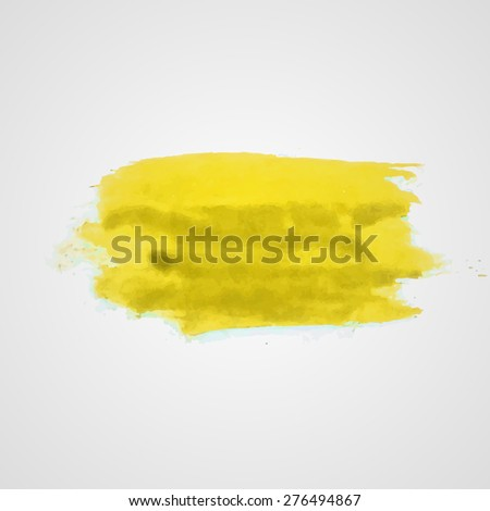 Watercolor vector illustration or banner with dirty yellow brush daub on gray background