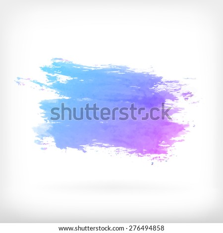 Watercolor vector illustration or banner with gradient blue and purple stain on white background - stock vector