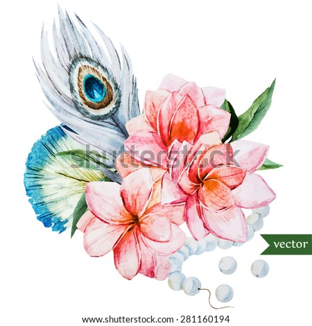 watercolor vector illustration, plumeria flowers and feathers, beads - stock vector