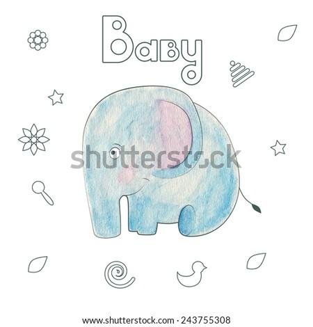 Watercolor Vector Kids Print Funny Elephant Stock Vector