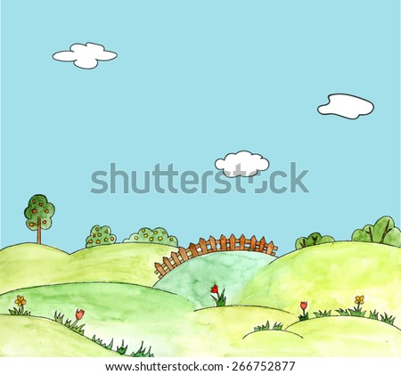 watercolor vector landscape with trees, field, flowers, grass, hills. Childlike hand drawn illustration of blooming meadow.