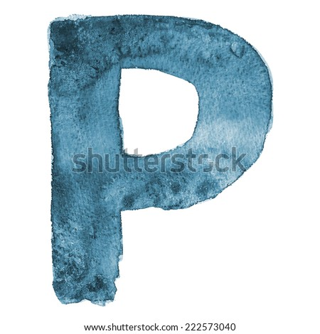 Watercolor vector letter P
