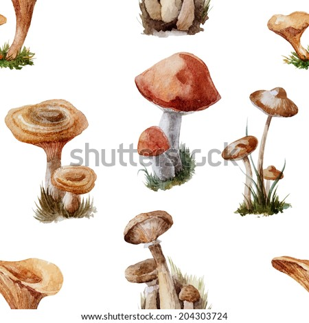 Watercolor vector pattern mushrooms, autumn background,