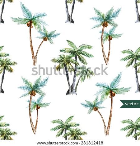 watercolor vector pattern tropical, palm trees - stock vector