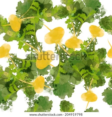 Watercolor vector pattern turnip - stock vector