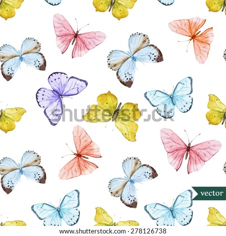 watercolor vector pattern with beautiful butterflies, seamless wallpaper - stock vector