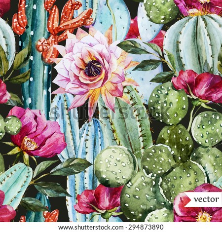 watercolor vector pattern with flowers roses and cactus, bright tropical pattern, dark background - stock vector