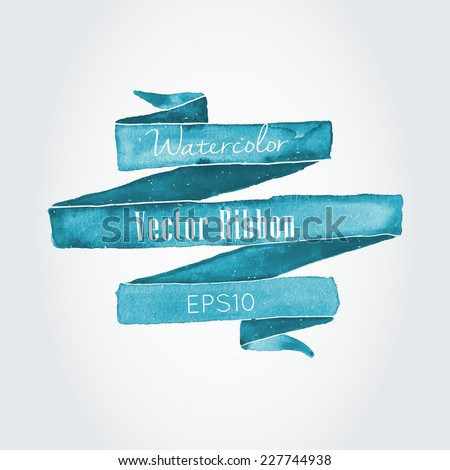 Watercolor vector ribbon and banner for text.  - stock vector