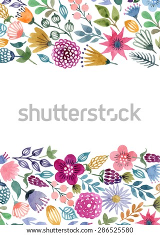 Watercolor vector seamless background with floral elements - stock vector