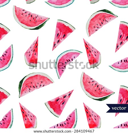 watercolor vector seamless pattern of watermelon  wedges
