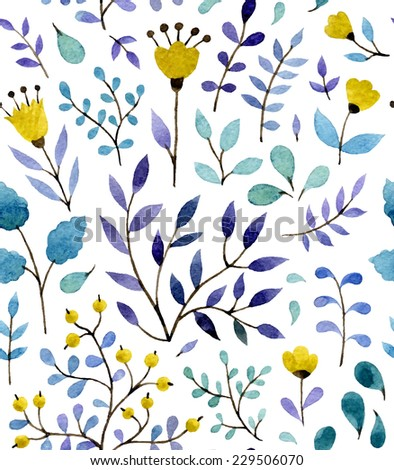 Watercolor vector seamless pattern with floral elements - stock vector