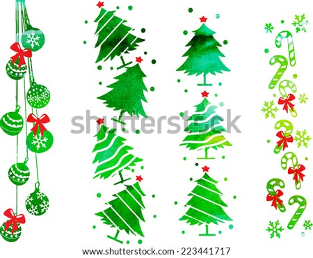 watercolor vector set for decoration of Christmas banners