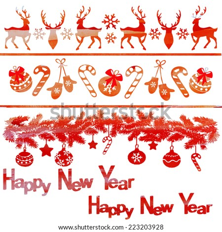 watercolor vector set for decoration of Christmas banners in orange