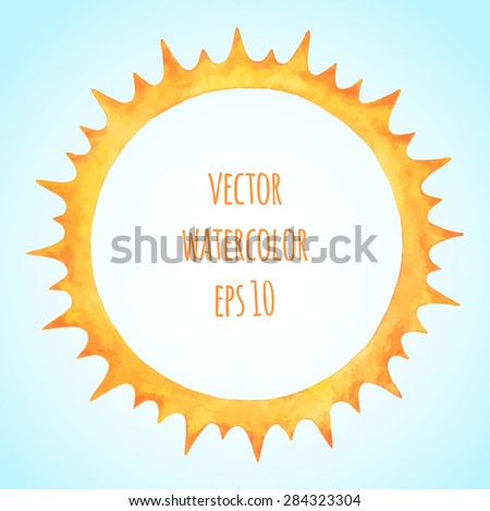 Watercolor vector sun crown. Fire circle spiked frame. Sun shape or flame border with space for text. - stock vector