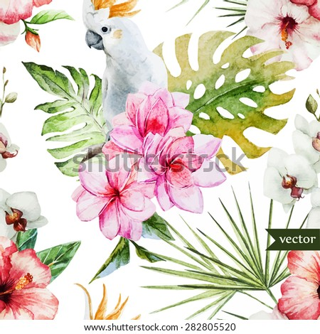 watercolor vector tropical pattern, pink frangipani flowers and white parrot  - stock vector