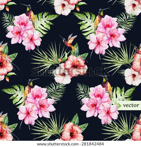watercolor vector tropical pattern, pink plumeria and hibiscus on a dark background - stock vector