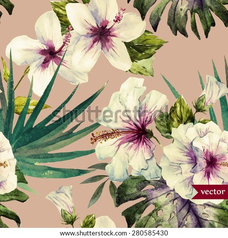 watercolor vector tropical pattern, vintage - stock vector