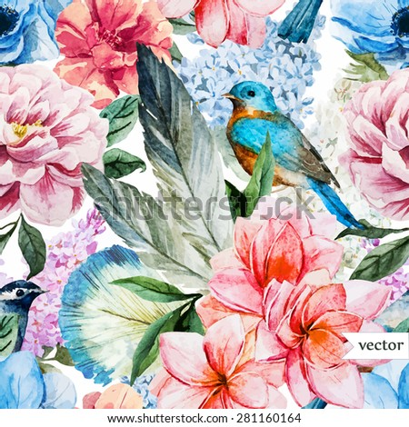 watercolor vector vintage pattern, peony flowers and feathers - stock vector