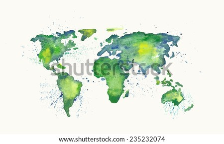 Watercolor vector world map with splatters and splashes. - stock vector
