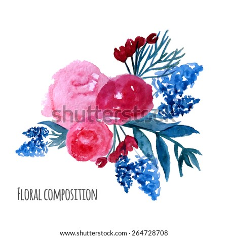 Watercolor vector wreath. Floral frame design. Hand drawn vintage illustration with rose and blue flowers. EPS10. - stock vector