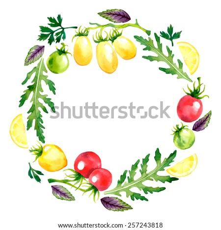 Watercolor vector wreath with tomatoes, arugula, basil, parsley and lemon - stock vector