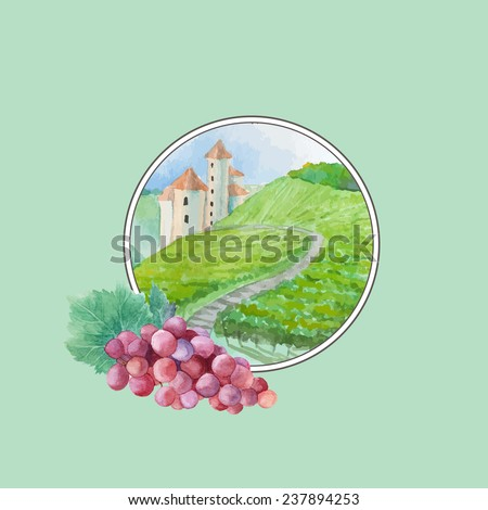 Watercolor vineyard landscape label with grapes. French Wine round logo illustration. Vector