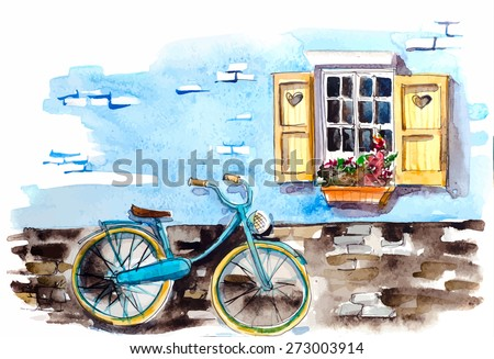 Watercolor vintage bicycle under window - stock vector