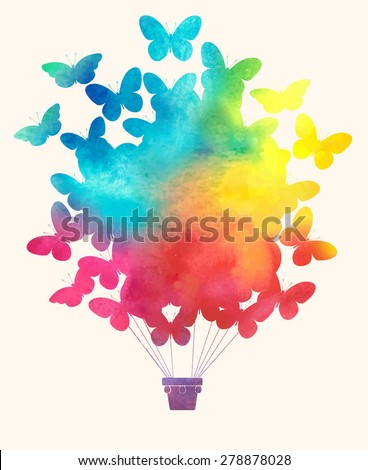 Watercolor vintage butterfly hot air balloon.Celebration festive background with balloons.Perfect for invitations,posters and cards - stock vector