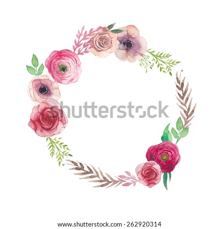 Watercolor vintage flowers wreath. Hand painted round frame with posy roses, ranunculus, anemones, leaves and floral elements. Vector design - stock vector