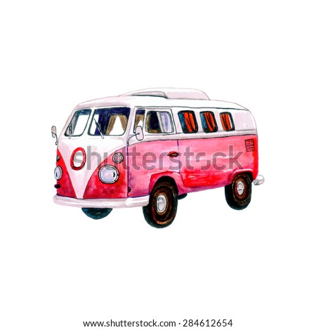 Watercolor Vintage Hippie Camper Van, isolated on white background. Retro vector illustration. Vector Element for your design. Watercolor texture.  Used as postcard, invitation & poster. - stock vector