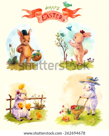 Watercolor vintage style Easter card with sheep and rabbit, cute animals, collection - stock vector