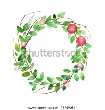 Watercolor vintage wreath with berries, apple, leaves and branches. Vector hand painted illustration isolated on white background. - stock vector