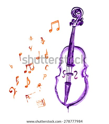 watercolor violet hand drawn cello and musical notes - stock vector