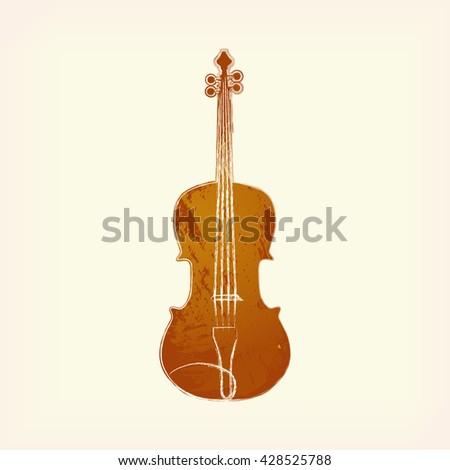 Watercolor violin isolated. Painted violin. Design element, violin. Brown violin. Music, classic, creation. Watercolor violin. Violin icon. Watercolor icon of violin. Music icon. Watercolor violin. - stock vector