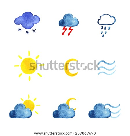 Watercolor weather icon set. Vector, EPS 10