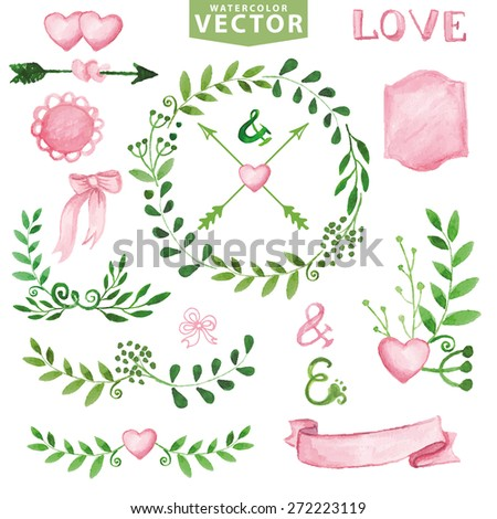 Watercolor wedding decorgreen branches wreaths laurels stock watercolor wedding decoreen branches wreaths and laurels pink decor ribbonsbadges junglespirit Image collections
