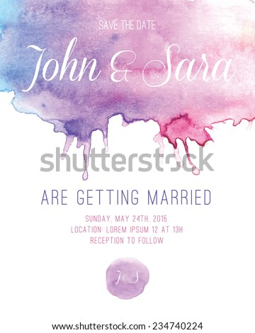 Watercolor Wedding Invitation Card - stock vector