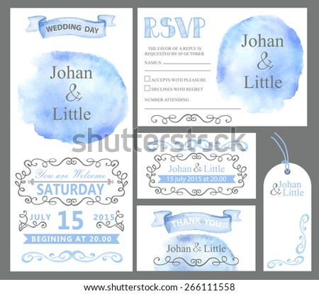 Watercolor wedding invitation card set.Cyan sky stein,ribbons,grey swirling borders,frames decor,arrows,text.Tag,RSVP,Thank you,save the date.Cute artistic vector  - stock vector