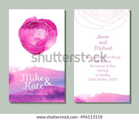 watercolor wedding invitation. pink wedding invitation.Vector wedding card